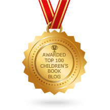 Top 100 Children's Book Blog Award Gold Medal on Red Ribbon